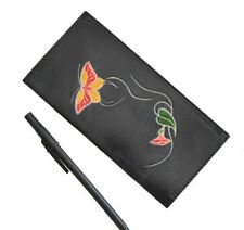 Genuine Leather Check Book Cover,Butterfly/Flower Embossed on Both Side, Black