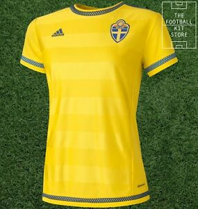 Sweden-Home-Shirt-Womens-Adidas-svff-Football-Jersey-Ladies-All-Sizes