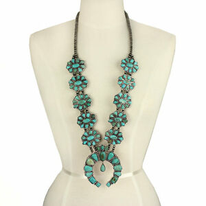 NWT-Natural-Full-Squash-Blossom-Turquoise-Necklace-731490089