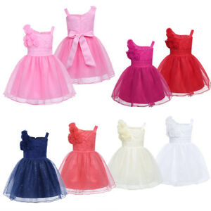 6b52a1eb796 Image is loading Baby-Girls-White-Tutu-Dress-Christening-Wedding-Bridesmaid-