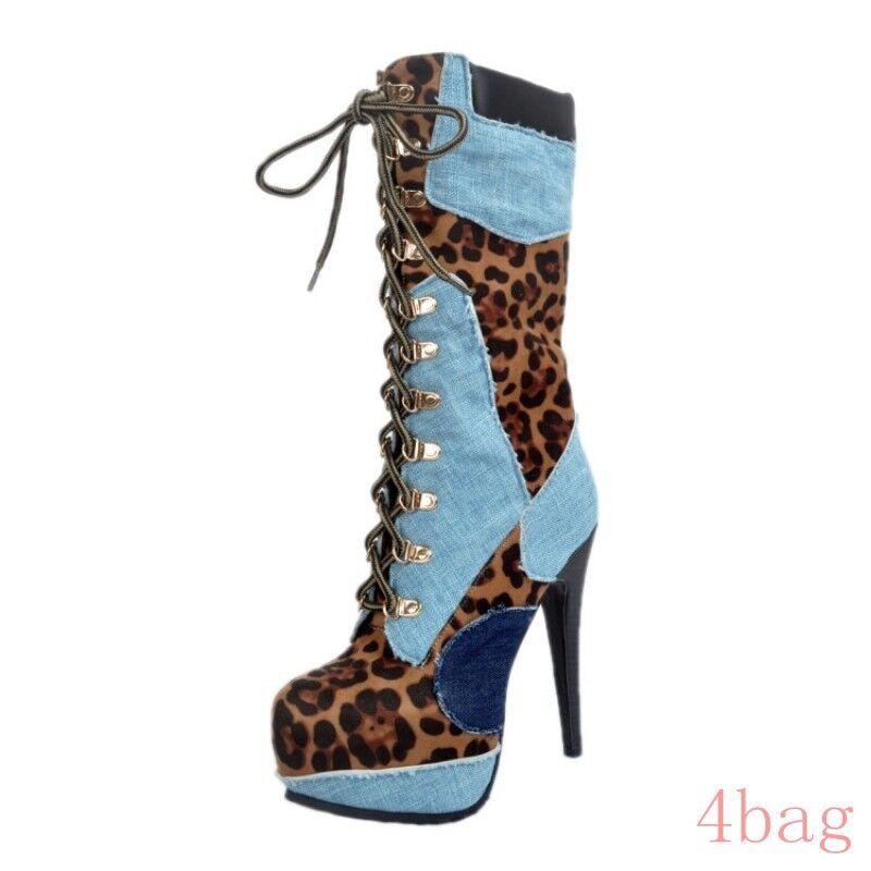 Lace Up Womens Ladies Stiletto Mid Calf Calf Calf Boots Leopard Platform Punk Sexy shoes 2b7c9d