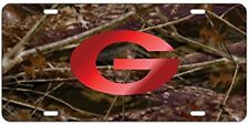 Georgia Bulldog UGA Laser Cut Camo License Plate / Car Tag, Red Mirrored G Logo