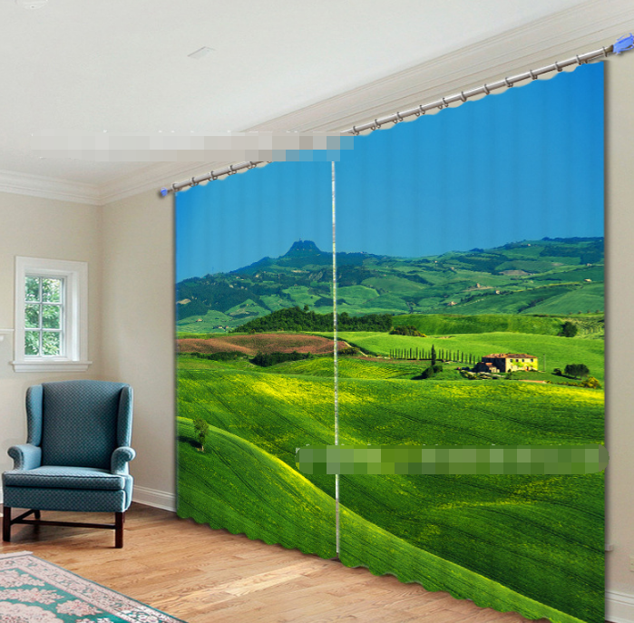 3D Hilly Lawn 1 Blockout Photo Curtain Printing Curtains Drapes Fabric Window AU