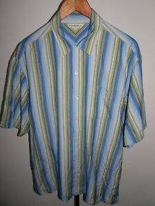 TOMMY-BAHAMA-Mens-Silk-Shirt-Short-Sleeve-Blue-amp-Green-Stripe-SIZE-MEDIUM-M