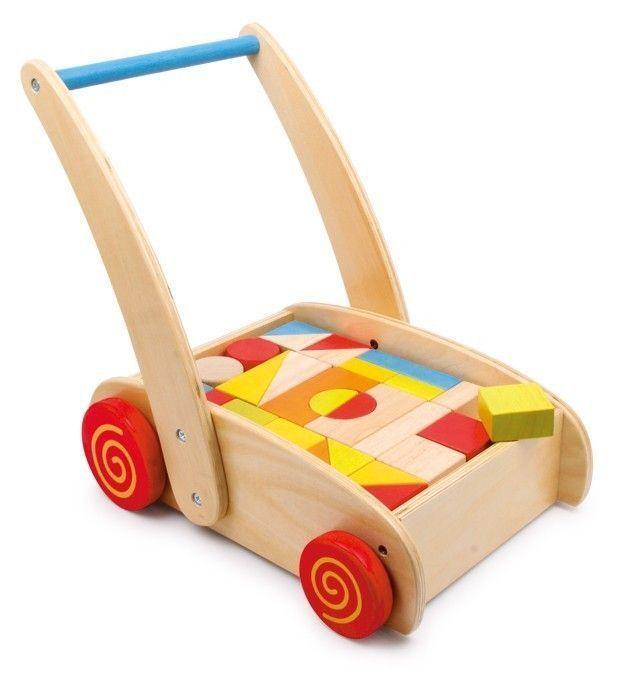 Lauflernwagen Bauklötze Baby Kinder Laufen Lernen Wagen Holzklötze Holz bunt NEU