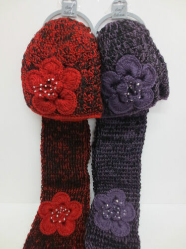 HAND MADE HAT /& SCARF SETS FLOWER DETAIL WITH DIAMANTE TRIM IN 2 COLOURS 90549