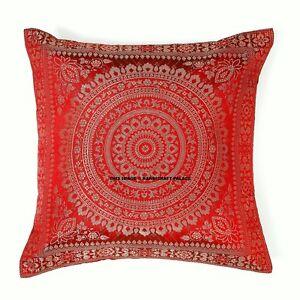 Maroon-Brocade-Silk-Cushion-Cover-Throw-Pillow-Case-Indian-Home-Decor-Sofa-Throw