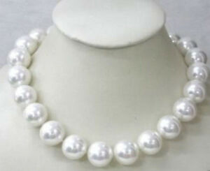 Beautiful-Huge-Rare-14mm-White-South-Sea-Shell-Pearl-Round-Beads-Necklace-18-034