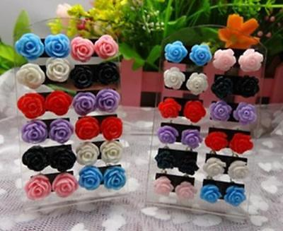 12 Pairs Mystic Rose Stud Earring Mixed Color Flower Wholesale Lot Nickel FAUS