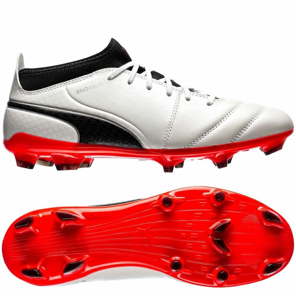 Puma ONE 17.3 FG 2017 Soccer chaussures Brand New blanc / rouge / noir