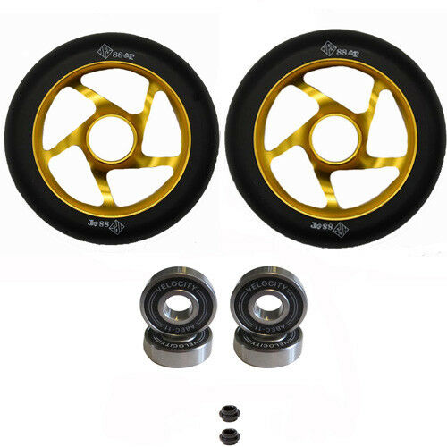 2X LATEST PRO STUNT SCOOTER  WHEELS gold 110mm ABEC 11 BEARING 9 PEG CLAMP FORK