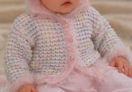 PO319 Tejer patrón-bebé//niñas chaqueta y sombrero 4 Tamaños 0-2yrs