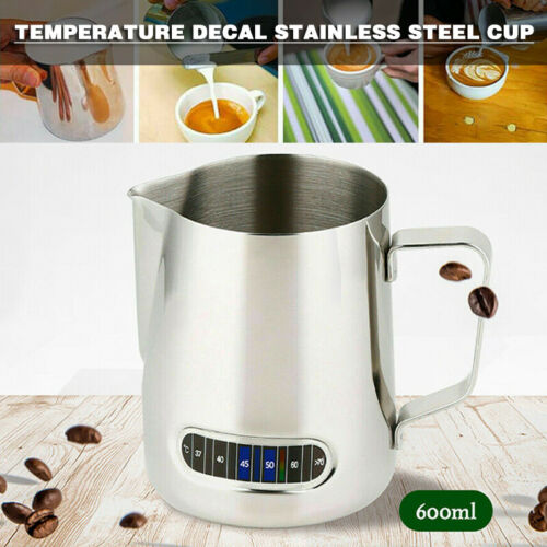 Details about  /Stainless Steel Milk Frothing Thermometer Jug Espresso Coffee Pitcher 600ml Jug