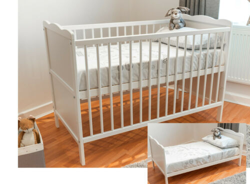 White Baby Cot Bed /& Cotbed Deluxe Mattress Converts into a Junior Bed
