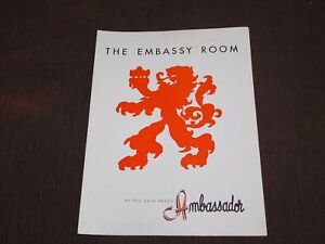 VINTAGE OLD DINING THE EMBASSY ROOM PALM BEACH AMBASSADOR  RESTAURANT MENU
