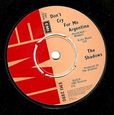 THE SHADOWS Don't Cry For Me Argentina Vinyl Record 7 Inch EMI 2890 1978 EX