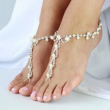 JEWSUN 2 PC Barefoot sandals with rhinestones and pearl beads. Beach Wedding ...