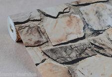 3D Rock Stone Effect Vinyl Embossed Rustic Natural Wallpaper Roll 10M Vintage