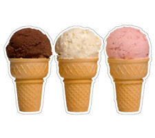 Three Ice Cream Cones Concession Decal Sign Cart Trailer Stand Sticker