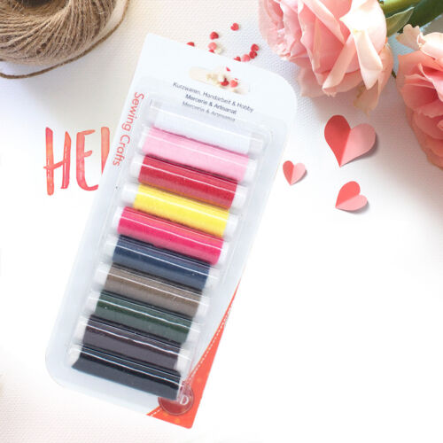 10pcs 50m mixed polyester sewing thread line cord for diy jeans denim cra ZY