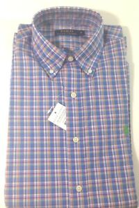 online store b1e2b 33b55 Dettagli su Ralph Lauren Uomo Blu e Verde Manica Corta su Misura Camicia a  Quadretti