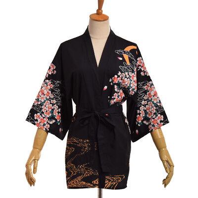 Retro Cosplay Yukata Sleeping Haori Bathrobe Vintage Japanese Fly Dragon Kimono