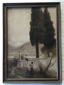 Image Is Loading Antique Mezzotint Print Colored Framed 12 034 X