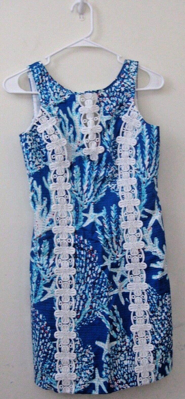 NWT Lilly Pulitzer Ember Skift Brewster blå bra REEF Dress stjärnafish sz 0 Ny
