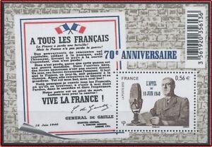 2010-FRANCE-BLOC-F4493-BF-Anniversaire-l-appel-du-18-Juin-1940-De-Gaulle-MNH