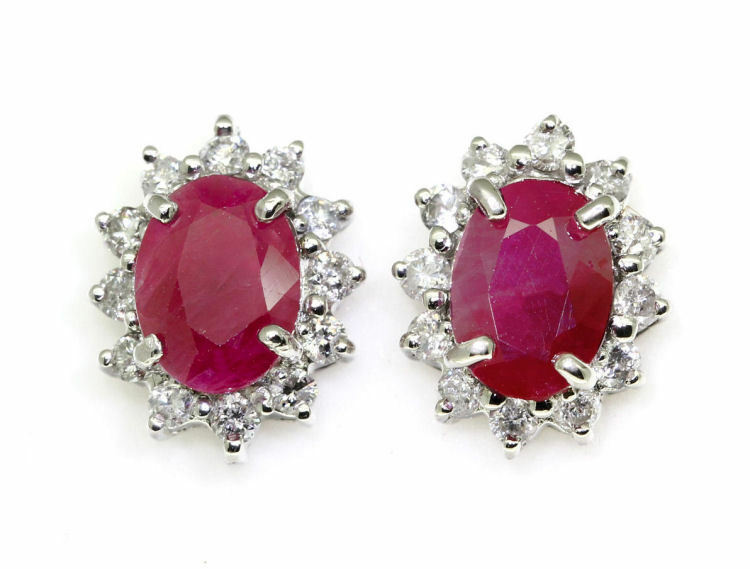 2.50ct Ruby & Diamond Earrings in 14K White gold