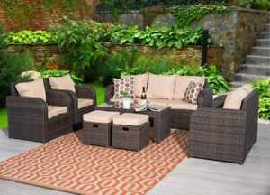 Outdoor 9 Seat Rattan Garden Sofa Lounge Set Chair Table Stool Brown with Cover