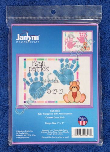Cross Stitch Kit Baby Handprints Birth Announcement Record & Frame Boy Or Girl