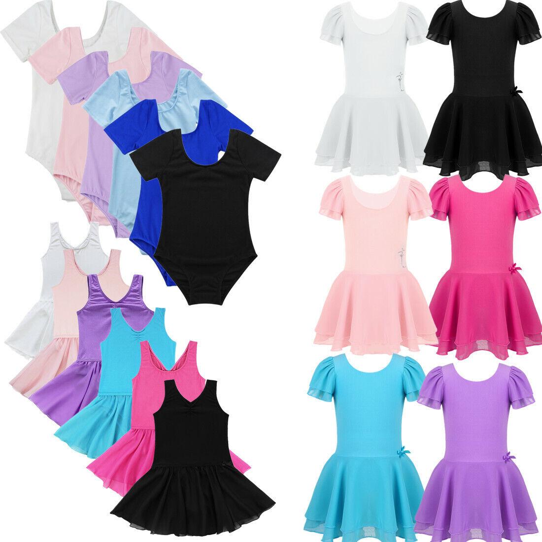 Kids Girls Ballet Dance Leotard Dress Tutu Skirts Gymnastics Dancewear Costume