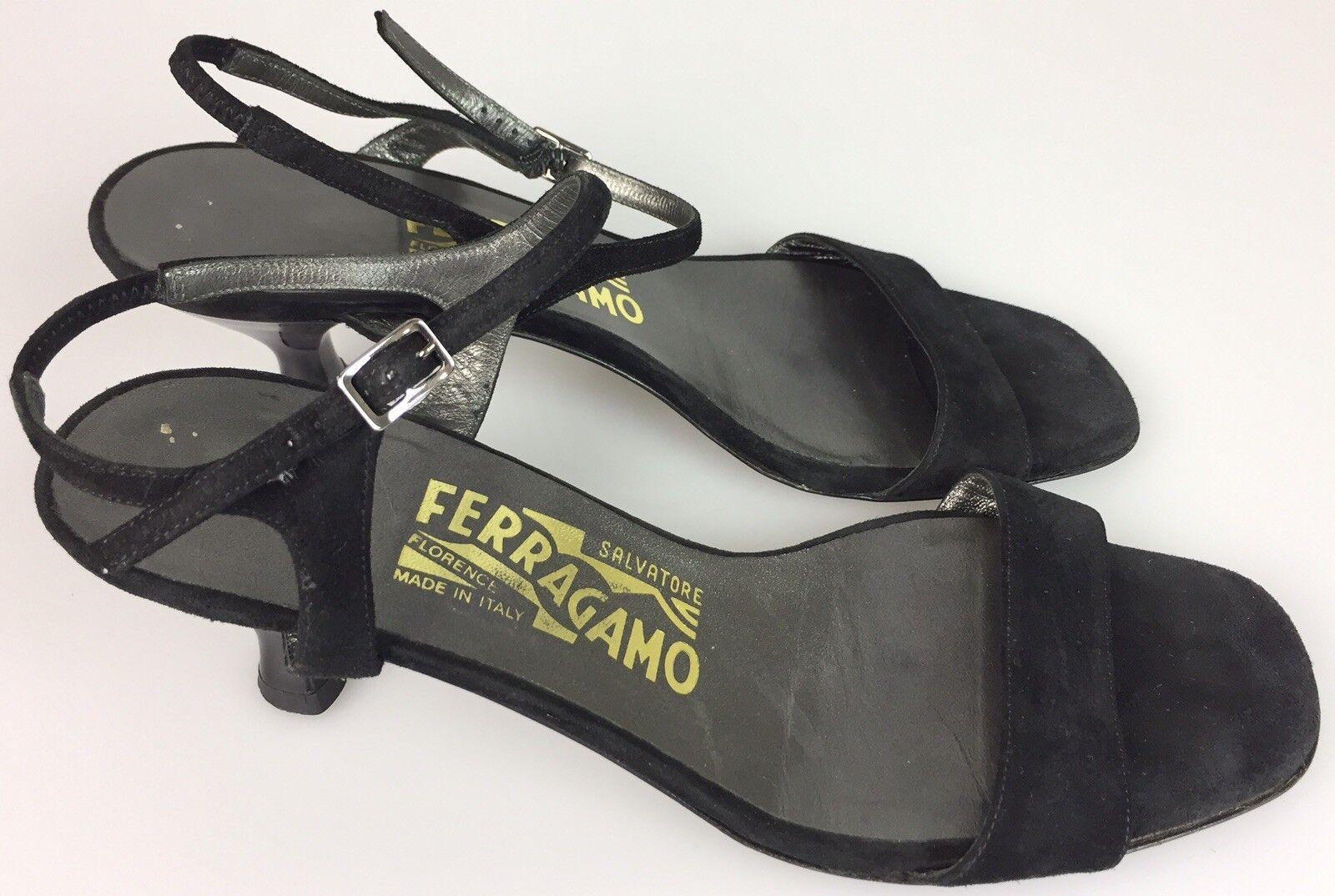 Salvatore Ferragamo Black Suede Leather Open Toe Strap Strappy Heels Women's 7.5