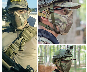 Modular Mask Detachable Mouth Filter Open Face Motorcycle Paintball Mesh Airsoft