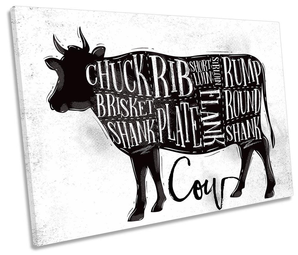 Cow Meat Butchers Steaks Framed SINGLE CANVAS PRINT Wall Art Art Art 8ce79f