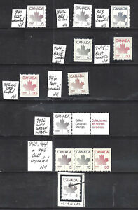 CANADA-STYLIZED-MAPLE-LEAF-BKLT-STAMPS-SCOTT-940-946-VF-MINT-NH-1MH-BS16060