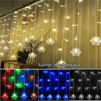 Icicle Snowflake Outdoor Indoor Xmas Curtain Ceiling Fairy Lights String 150 Led Ebay