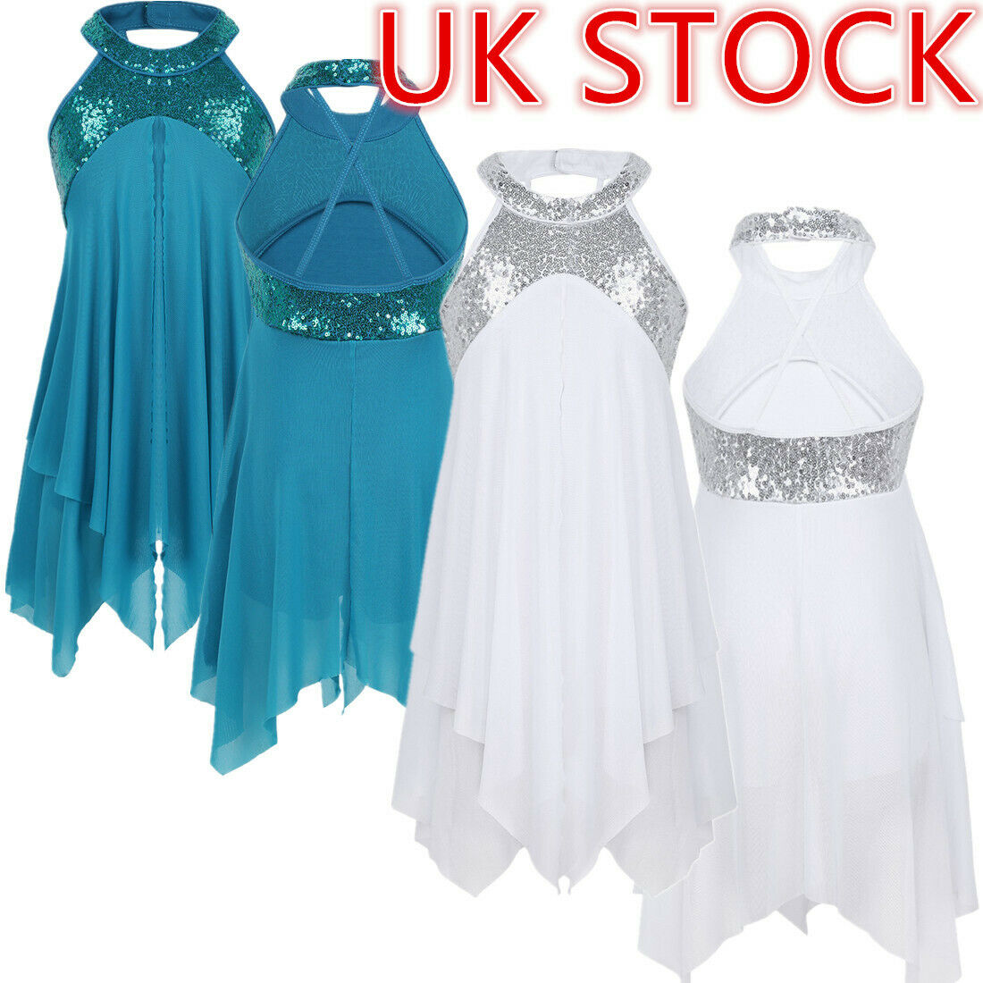 UK Girls Lyrical Modern Dance Dress Kids Halter Leotard Dress Ballroom Dancewear