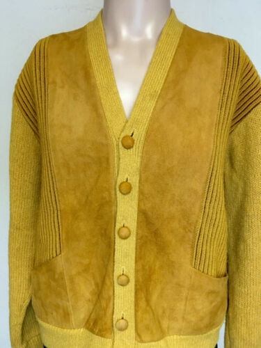 VTG 60s TOPS ALL MOD WOOL SUEDE PANEL CARDIGAN SWE