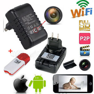 Wifi HD 1080P Spy Hidden Wall Charger Adapter IP Camera DVR Video Recorder Cam