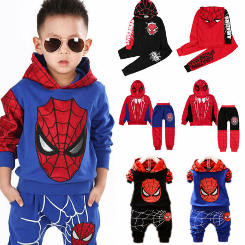 Pants Sets Outfit Costume 2PCS Baby Kids Boys Spiderman Tracksuit Hoodie Tops