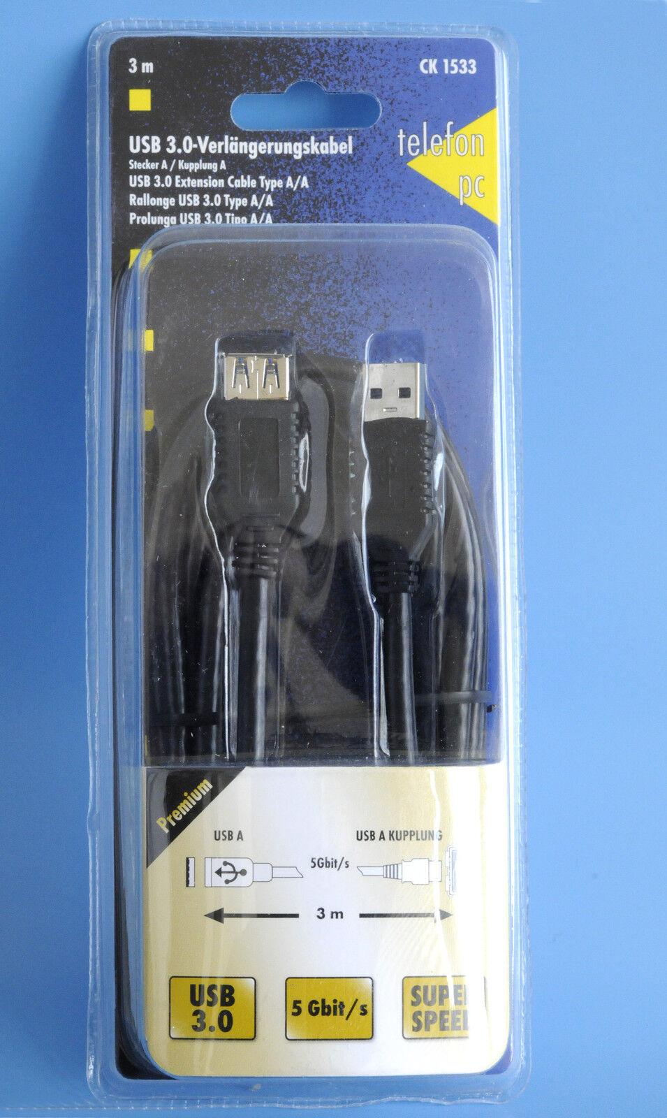 Premium USB 3.0 Extension Cable Super Speed 5 Gbit/S USB A/a Plug 3M PC & Te