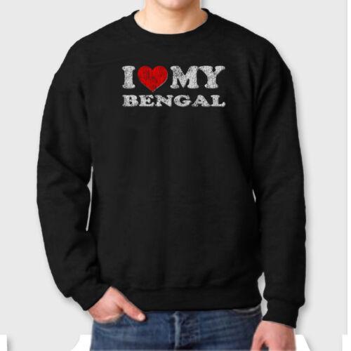 I HEART MY BENGAL Cat Love Pets T-shirt Show Breed Crew Neck Sweatshirt