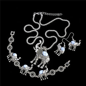 Fashion-Thai-Silver-Women-White-Turquoise-Wedding-Jewelry-Sets-Necklace-Earrings