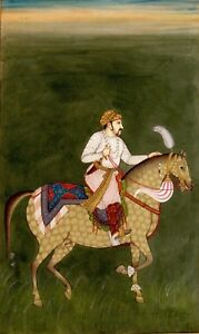 Hand-painted-Fine-miniature-painting-Mughal-Emperor-Jahangir-Riding-On-Horse