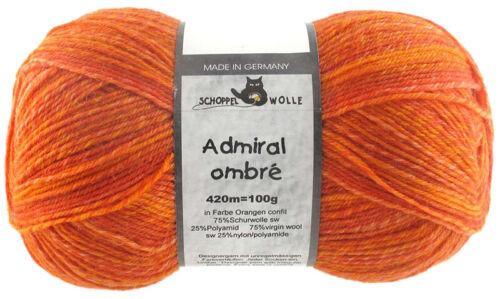 L/'amiral Ombré 100 G Chaussettes De Laine Schoppel FB 1880 ombre oranges-Confit