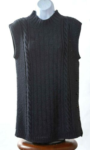 Ellen Tracy Size Small Charcoal Gray Wool Cable Ha