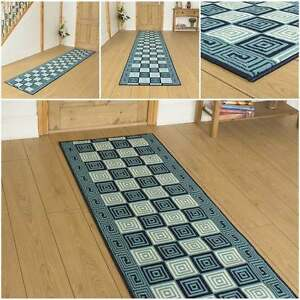 schachbrettmuster blau l ufer teppich flur matte f r halle. Black Bedroom Furniture Sets. Home Design Ideas