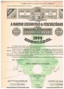 Ungarische Escompte- und Wechsler-Bank, Budapest 1906, 1000 Kronen, VF